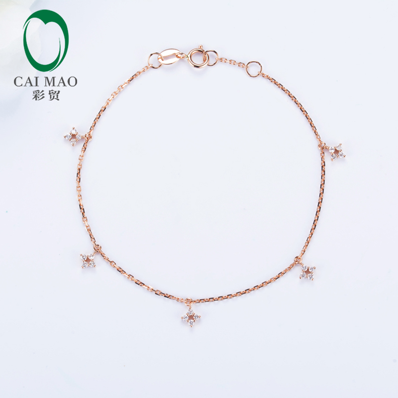 Caimao Jewelry 0.20ct Natural Diamonds 18k Rose Gold Engagement Chain Bracelet