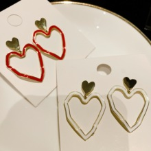 Neatear 2019 New heart-shaped two-tone fashion ladies wild party summer earrings two tone heart