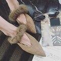 AVVVXBW 2016 Outono Camurça Apartamentos Sapatos Dedo Apontado das Mulheres Sapatos Único Sapatos De Pele De Inverno da Mulher do Estudante Sapatos de Trabalho Lazer mocassins