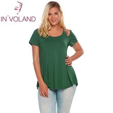 IN'VOLAND Women T-Shirts Tops Plus Size L-4XL Vintage O-Neck Short Sleeve Cut-out Shoulder Solid Pullovers Tshirt Tees Big Size(China)