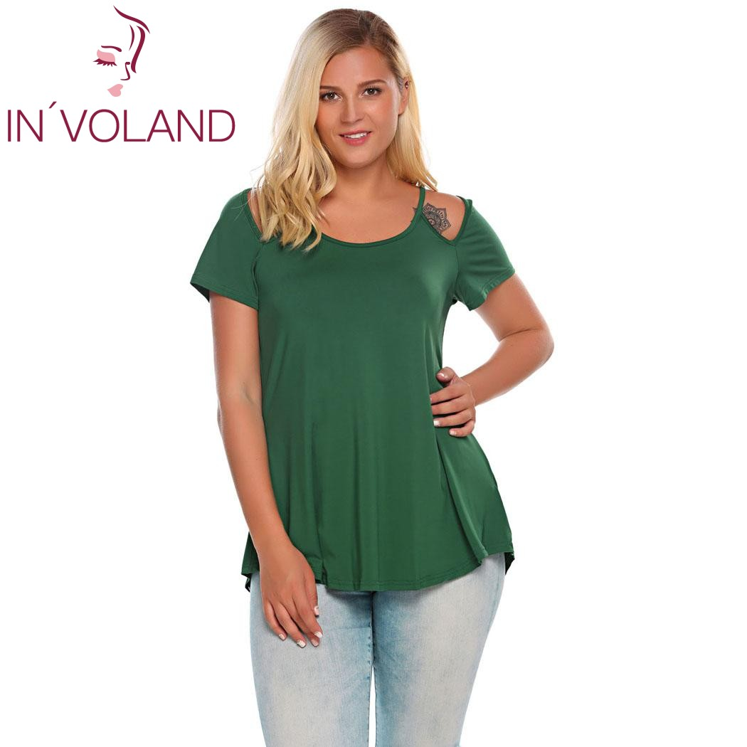 IN'VOLAND Women T-Shirts Tops Plus Size L-4XL Vintage O-Neck Short Sleeve Cut-out Shoulder Solid Pullovers Tshirt Tees Big Size