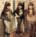 2016 новый футболка брюки baby дети одежда устанавливает 2 шт продать, мода девушки одежда устанавливает leopard детская одежда лук топы костюм