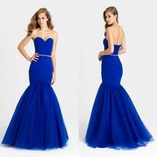 Elegantes Königsblau Meerjungfrau Trompete Abendkleid formale abendkleider Lange Party Kleider tarik ediz Prom Kleid