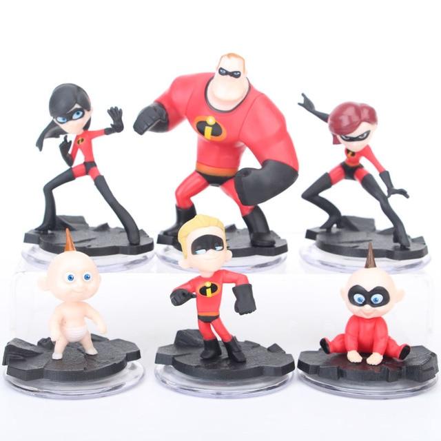 6Pcs Set Super Man The Incredibles 2 Action Figures Mr. Incredibles Dash  Parr Jack Parr Elastigirl PVC Cartoon Movie Toys 3-10CM 8263fa4f0afb