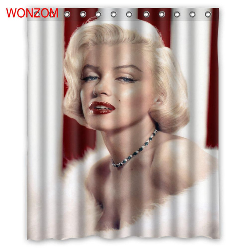 Wonzom Polyester Fabric Shower Curtains With 12 Hooks For Bathroom Decor Modern Marilyn Monroe Bath