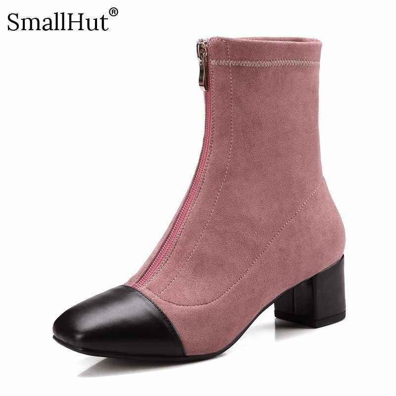 Cow Leather Ankle Boots Women Spring Autumn Ladies Square Toe Short Boots E079 Fashion Woman Pink Black High Thick Heel Boots