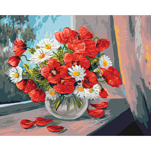 Flower Picture On Wall Acrylic Paint By Numbers Diy Painting Children Gift Coloring Poppies