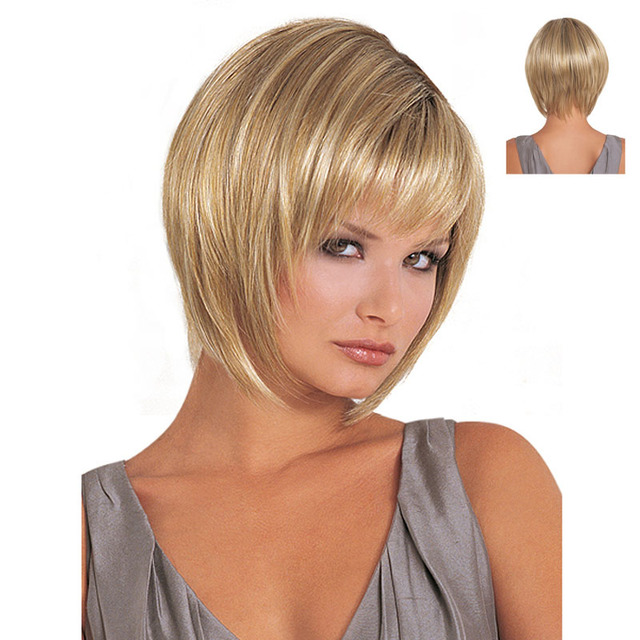 Charm Fluffy Bob Hair Cut Women s Short Straight Wigs Light Blonde Wig  Oblique Bangs Heat Resistant Synthetic Hair Natural Wigs dc1057e730