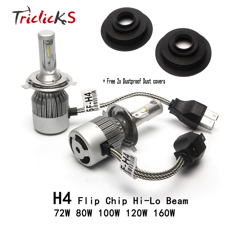 Triclicks H4/9003/HB2 Hi/Lo 6000K Flip Chip LED Car Headlights Frog Light H4 Auto Headlight Bulbs+Free 2x Dustproof Dust Covers  new h4 led cars headlights hi lo 25w auto led light bulbs lamp flip chip 2800lm 6000k white12v