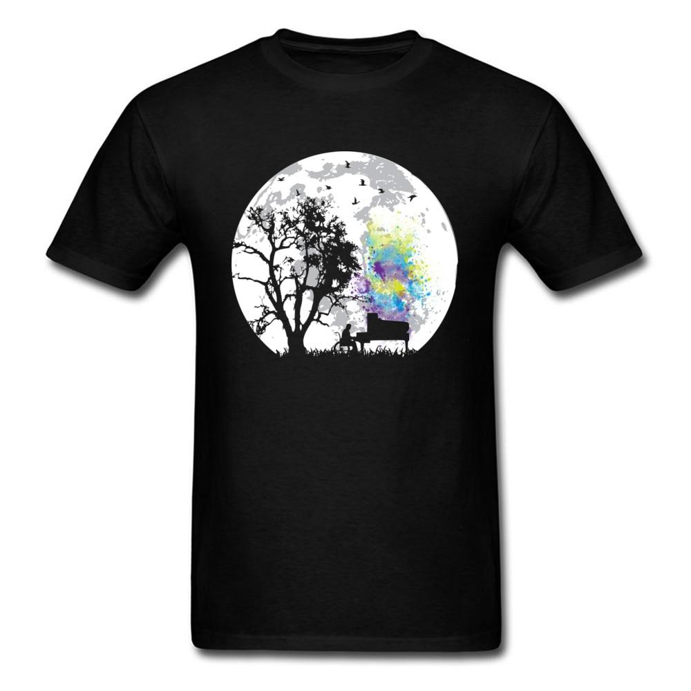 T-shirt Men T Shirt Moonlight Song Tees Europe Tee-Shirt Wholesale Art Design Clothing Plus Size Tops Black Sweatshirt Cotton