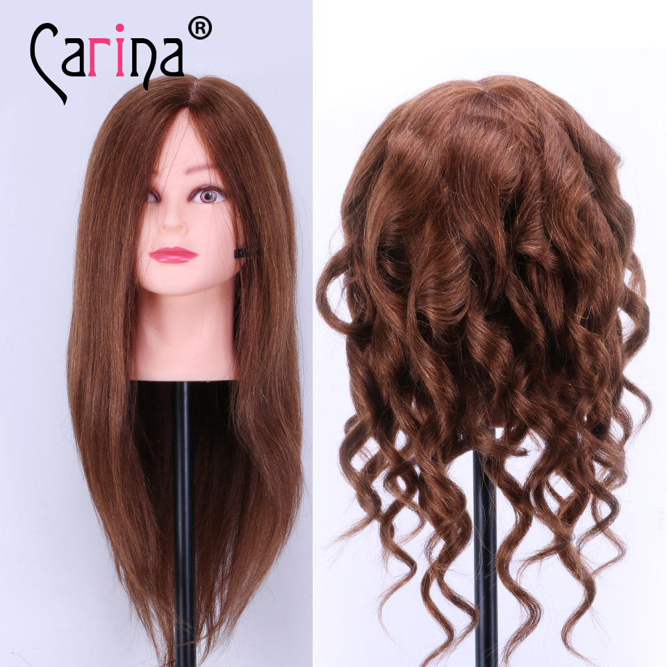 """100%Real Hair Mannequin Head Women 18""""Human Hair Styling Hairdressing Doll Heads With Hair For Hairdresser Training Manikin Head"""