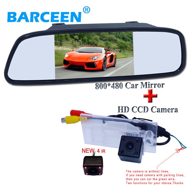 """Auto sistema de cámara de estacionamiento del coche con 4 IR con 5 """"pantalla lcd hd de coches espejo con la más alta visión nocturna set para FIAT freemont"""