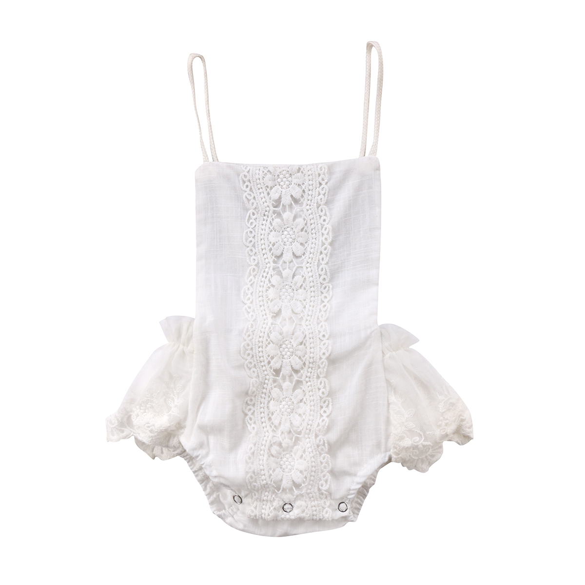 2018 Baby Summer   Rompers   Infant Baby Girl Cotton Lace   Romper   Sleeveless White Halter Jumpsuit Kids Baby Girls Clothes Outfit