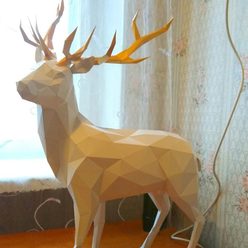 DIY Home Decoration Christmas Deer Paper Model Puzzle Toy DeerSS Animal For Restaurants Waterproof Folding Model Christmas Gift