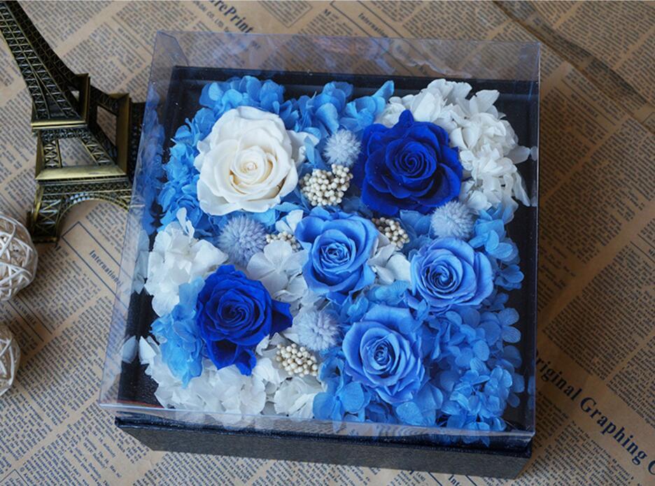 Bleu océan Style Rose préservé fleurs fraîches avec boîte de 25 cm pour la fête de mariage anniversaire saint valentin cadeau faveurs