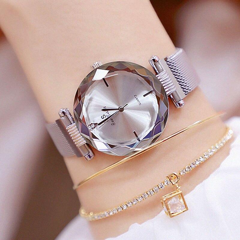 Women Luxury Quartz Watches Ladies Dress Wristwatches Wach Watch Bracelet Exquisite Magnet Magnetic Force Unique Creative Band