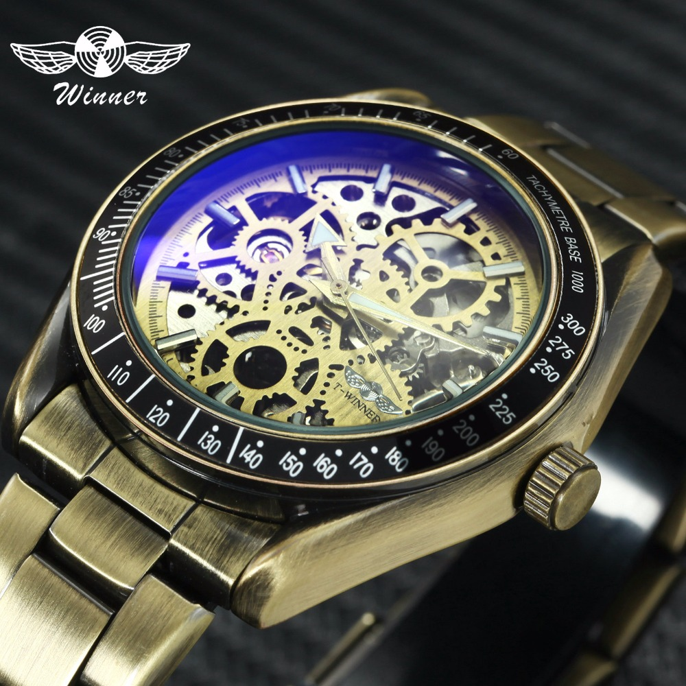 WINNER Vintage Watch Men Copper Stainless Steel Strap Skeleton Auto Mechanical Mens Watches Top Brand Luxury Blue Mirror Case winner mens watches top brand luxury leather strap skeleton skull auto mechanical fashion steampunk wrist watch men gift box