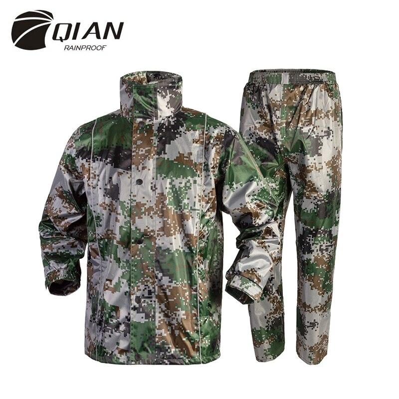 QIAN Impermeable Raincoats Women/Men Suit Rain Coat Outdoor Hood Camouflage Motorcycle Raincoat Camping Fishing Rain Gear Poncho