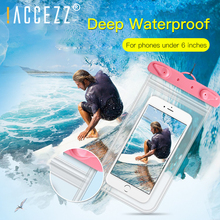 !ACCEZZ Universal Waterproof Phone Bag Pouch For Cell Phones Swimming Gadget Beach Rafting Dry Coque Water Proof 6inchs