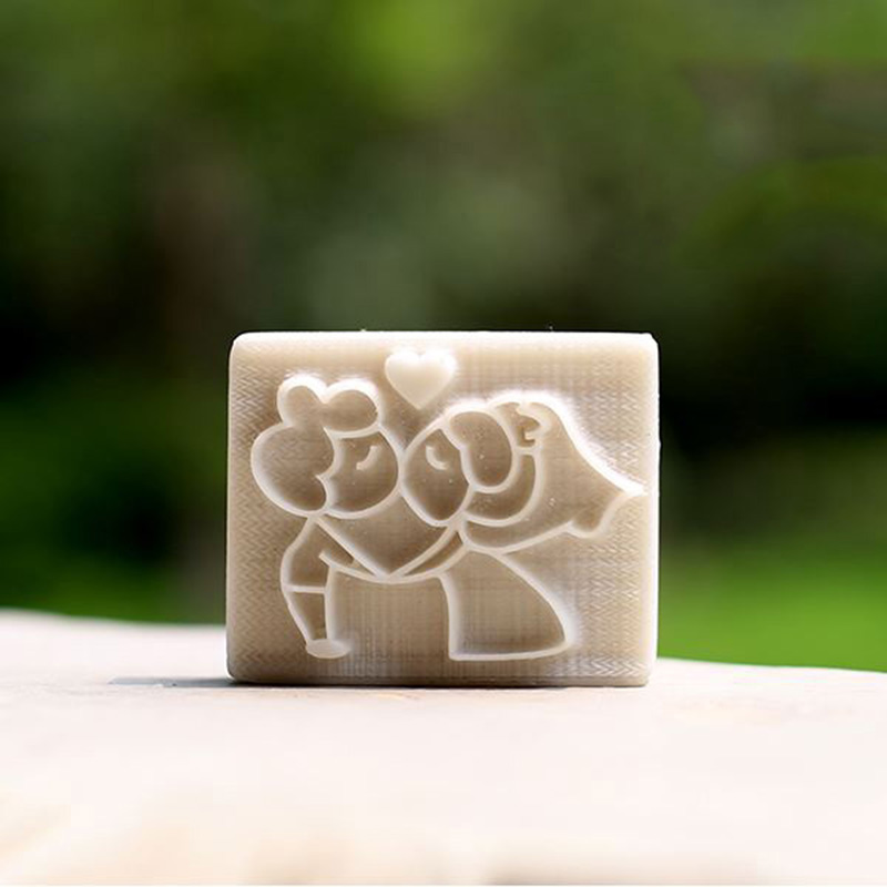 kissing couple pattern handmade soap stamp custom DIY new resin seal Soap printed pattern heart soap chapter