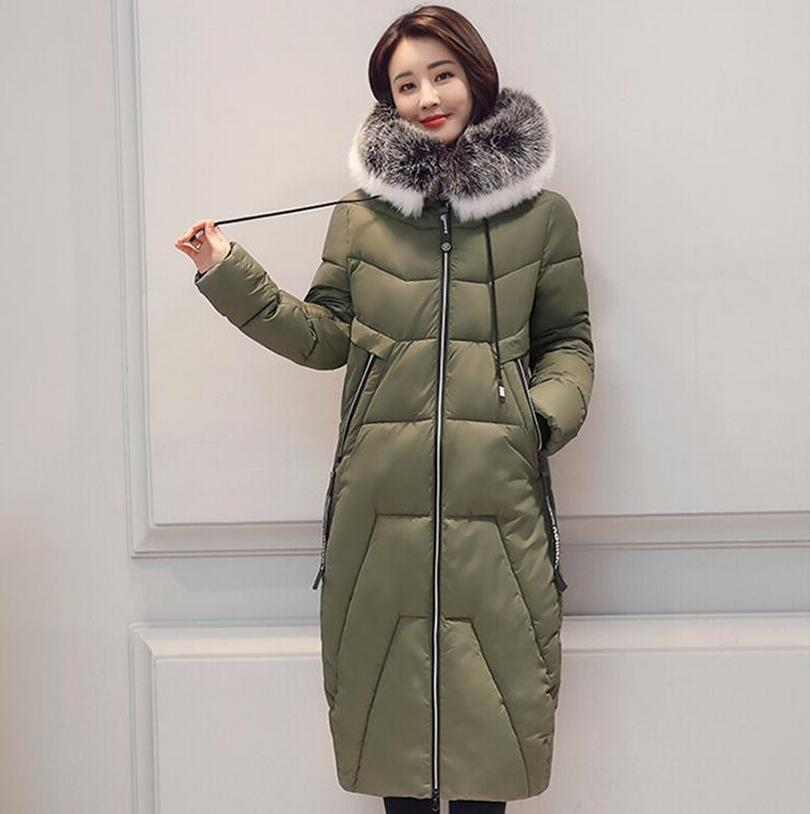 2017 new winter women down jacket fashion design spell color big fur collar down cotton coat slim long warm Parkas outwear s1209 2017 fashion winter jacket coat women long thicken down cotton padded faux big fur collar warm female outwear parkas woman
