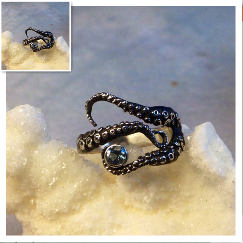 Retail Tentacle Ring Octopus Ring Seductive Tentacle Ring in ancient silver Plating black Rhinestone by Octopus  adjustable size