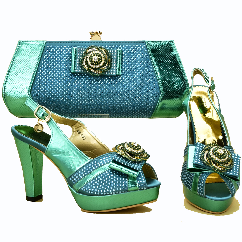 Teal green shoes and bag set high heel 4.7 inches size 37 to 42new fashion with many stones shoes and bag sandal lady SB8319-1Teal green shoes and bag set high heel 4.7 inches size 37 to 42new fashion with many stones shoes and bag sandal lady SB8319-1