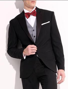 Fashionable One Button Black Groom Tuxedos Groomsmen Men's Wedding Prom Suits Bridegroom (Jacket+Pants+Vest+Tie) K:753