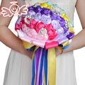 Красочные Атласная Лента Искусственного Шелка Розы Цветы Свадебные букеты Красивые свадебные Свадебный Букет цветы невесты FW143