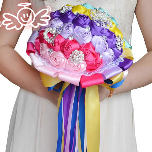 Colorful Satin Ribbon  Artificial Silk Roses Flower Wedding bouquets Beautiful bridal Wedding Bouquet flowers bride FW143
