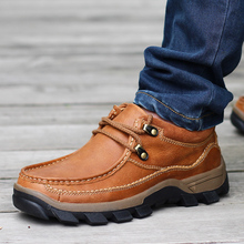 Genuine Leather Men's Shoes 2017 Autumn Winter Casual Waterproof Work Shoes Outdoor Rubber Shoes Lace-up Oxfords chaussure homme