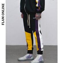 FLAM ONLINE Men Cargo Pants Skinny Hip Hop Fashion Casual Ankle-length Harem Jogger Elastic Waist Mens SweatPants