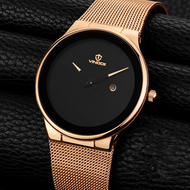 VINOCE Mens Watches Top Brand Luxury Fashion Business Quartz Watch Men Sport Full Steel Waterproof Wristwatch Relogio Masculino baosaili fashion casual mens watches top brand luxury leather business quartz watch men wristwatch relogio masculino bs1038