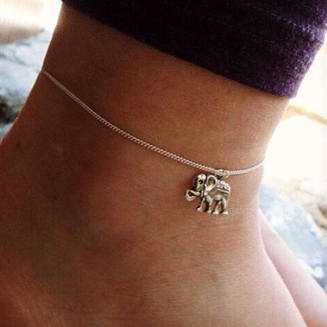 Silver Chain Elephant Anklet For Women Lucky Ankle Bracelet Cheville Tornozeleira Pulseras Tobilleras Mujer Foot Jewelry