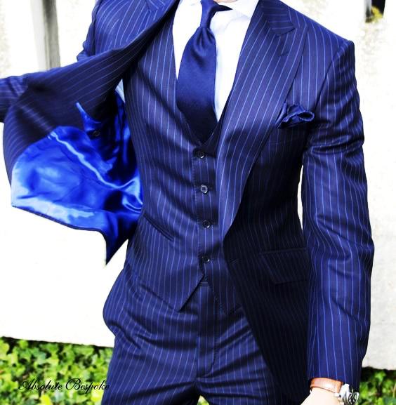 Latest Coat Pant Designs Navy Blue Stripe Pattern Men Suit