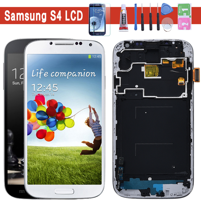 I9500 i9505 lcd para SAMSUNG Galaxy S4 i9505 Digitalizador de pantalla táctil de pantalla LCD con marco para pantalla SAMSUNG S4 I9500