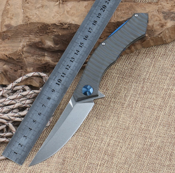 D2 Blade Blue Moon Folding font b Knife b font TC4 Titanium Handle Ball Bearing Flipper