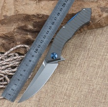 D2 Blade Blue Moon Folding Knife TC4 Titanium Handle Ball Bearing Flipper Tactical Outdoor Camping Knives Survival Tools EDC