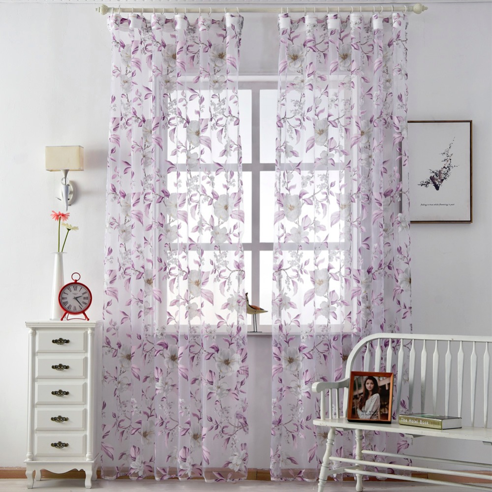 Floral tulle curtains modern sheer fabrics purple home textile ...