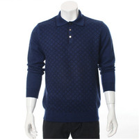 Новое поступление 100% козья кашемира с отложным воротником вязать мужчины мода Аргайл пуловер свитер H прямые красный 3 вида цветов S/2XL