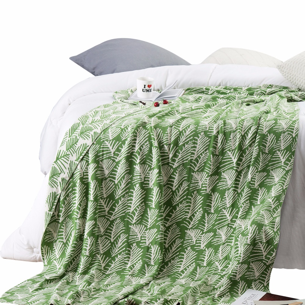 Green White Leaf Pattern 100% Cotton Bedding 1pcs Blankets Bedspread Blanket Manta Coral Flannel Sofa/Couch Bed/Plane Travel