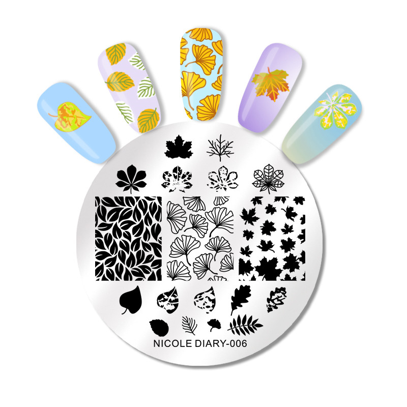 NICOLE DIARY Nail Art Stamp Template Flower Vine Rose Leaves Floral Image Pattern Printing Plate for Manicure Stencil