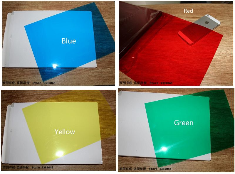 20pcs/Pack 0.2mm A4 Clear Transparent Colored Plastic PVC Binding Acetate Sheet 210*297mm Yellow/Blue/Red/Green