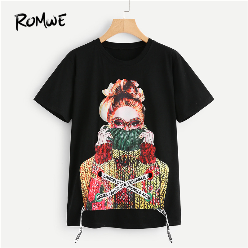 ROMWE Black Figure Print Pearl Embellished Tee 2018 Spring Round Neck Short Sleeve Rock Top Women Pearls Lace Up Beaded T Shirt pearl beaded ring round neck tee