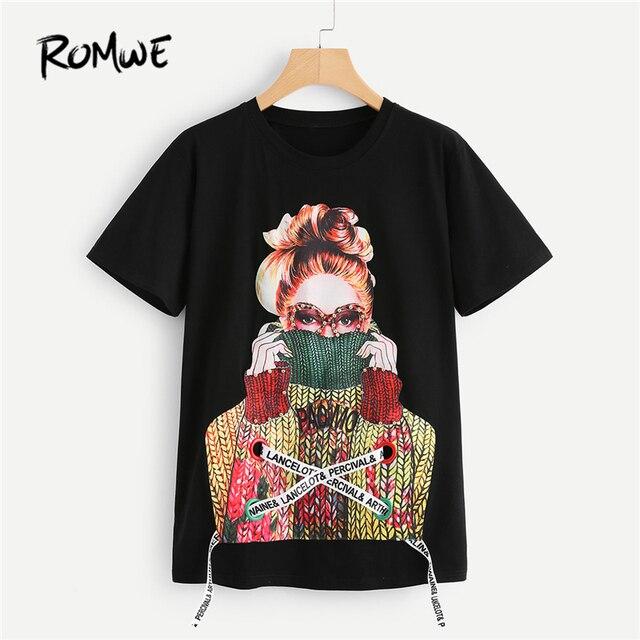 82c4d8fe744ad ROMWE Noir Figure Imprimer Perle Embelli Tee 2018 Printemps Col Rond à  Manches courtes Rock Top Femmes Perles Lace Up Perlée T Chemise dans  T-Shirts ...