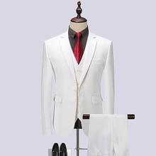 White Spring Mens Business Formal Suit Men Single Breasted Suits Slim Fit Quality 3 Pieces Set Jacket Vest Pants