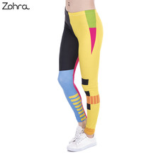 Zohra Brand New Fashion Women Leggings Simple Geometry Splicing Printing leggins Fitness legging Sexy High waist Woman pants