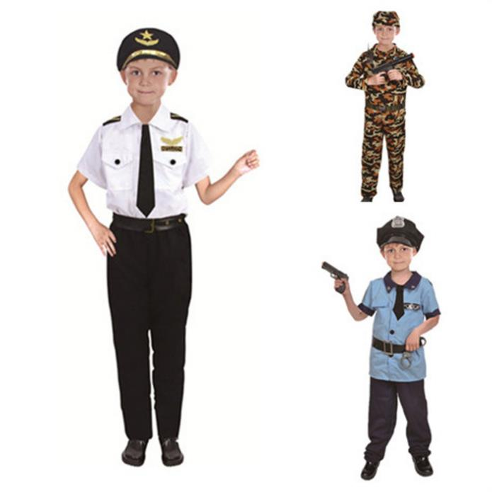 Halloween cosplay Kids boys Pilot Fireman Doctor Police lawyer Costumes Cosplay for children costumes Christmas Day Party