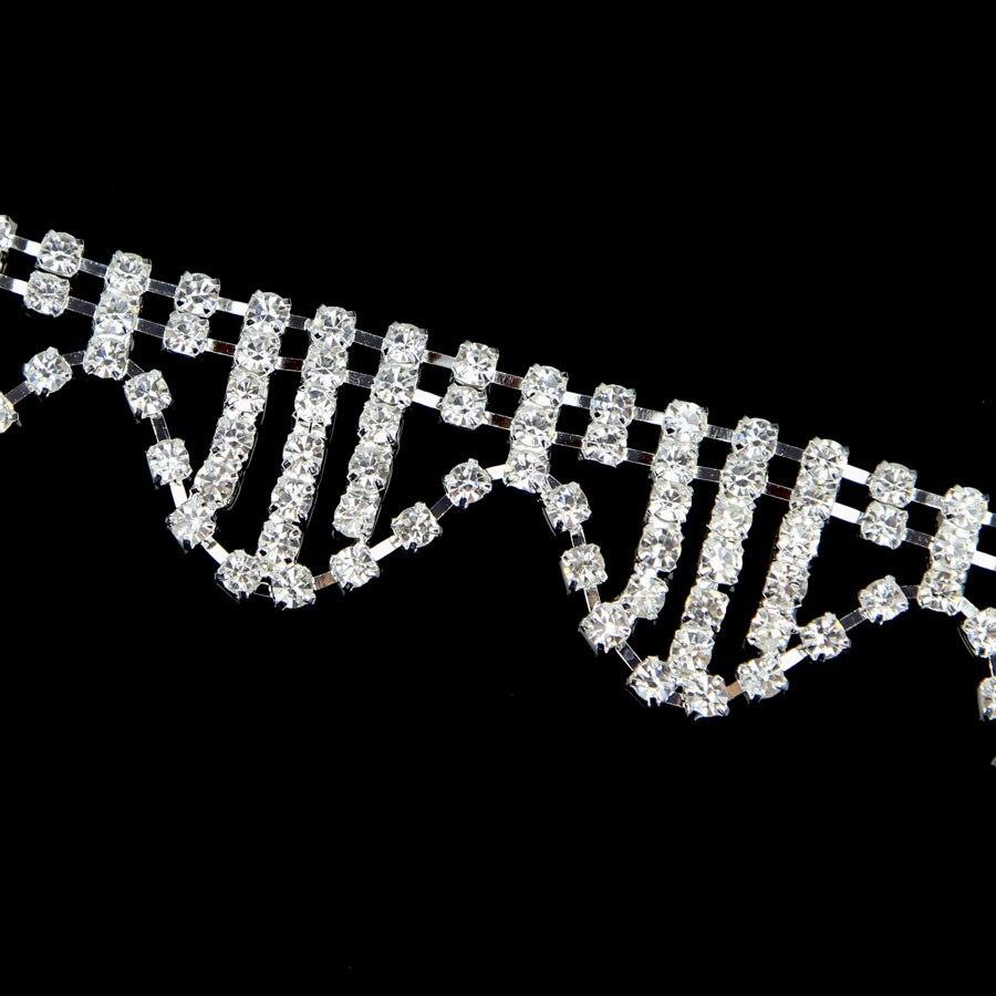 10Yards Clear Rhinestone Trim Crystal Chain Silver Plated trim