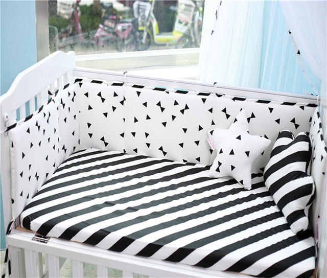 200*28CM  Baby Bumpers Cotton Classic Black White Half  Around Baby Bed Bumper Print Decorative Baby Cot Bumpers Crib Bedding